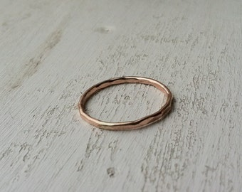 16g / 1.2mm Thick Hammered 14k Rose Gold Fill Stacking Ring - made custom to order