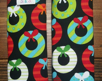 Reversible Ann Kelle Jingle Wreaths on Black with Red Dimple Cuddle Minky Baby Unisex Christmas Holiday Car Seat Strap Covers ITEM #030