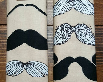 Reversible TODDLER Car Seat Strap Covers Mustaches in White and Black with Taupe Dimple Dot Minky Baby Boy Accessories Shower Gift ITEM #067