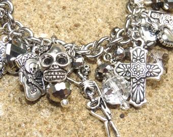 STEEL DEAD Day of the Dead Themed Silver and Hematite Charm Bracelet ooak