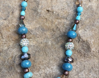 Brown and Turquoise Chunky Necklace #385