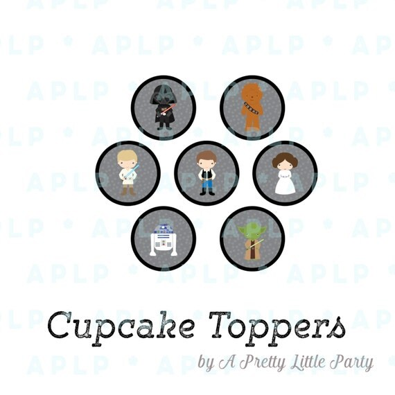 Star Wars Cupcake Toppers - Circle Decals - New Star Wars - INSTANT DOWNLOAD