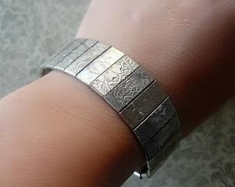 Vintage Victorian Style Bracelet - Silver Engraved Floral Bracelet - Silver Link Bracelet