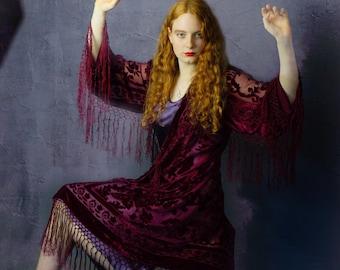 Red wine silk velvet burnout fringe kimono  / long luxury duster / shimmering Stevie Nicks long jacket