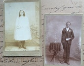 Antique Photo Cabinet Cards First Communion Photographs Boice Photography 1890s Photographs Set of Two