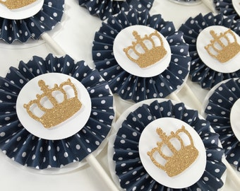 1st Birthday Prince Party Decorations | Navy and Gold Party | Little Prince Party| Gold Glitter Crown | Prince Gold Crown | Rosette Cupcake