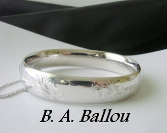 B.A. Ballou Sterling Engraved Hinged Bangle Bracelet / 25.4 Grams / Designer Signed / Vintage Jewelry / Jewellery