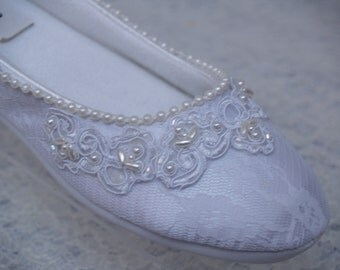 Ready to Ship Size 7 Brides Wedding White Flats Vegan Shoes hand stitched pearls & beaded Lace,Wedding Slipper,Victorian, Comfortable, Deco