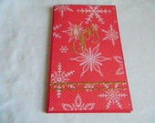 Book cover style for notepad with pockets and tags red