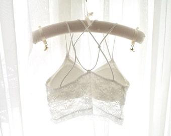 Boho White Lace Straps Crop Cap Sleeves Tank Top Bustier Bralette Bra Cami Sheer Back ,  Elegance Sexy Victorian Style Bralette Bra Lingerie