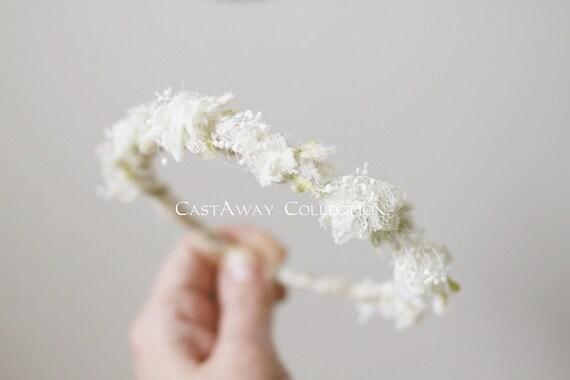 FLORAL CROWN COLLECTION ~ Elisha (Newborn Halo, Newborn Flower Crown, Newborn Photo Prop, Newborn Headband, Newborn Tieback, Organic, White)