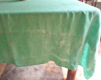 """Large Green Woven Tablecloth, 98"""" x 60"""" Rectangular Waffle Weave Damask Cotton Tablecloth"""