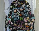 Black Whimsical Print Canvas UPholstery Fabric Large BackPack with Fantasy Print