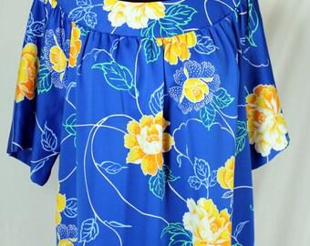 Vintage Hawaiian Blue and Yellow Floral Island Fashions Dress Housecoat