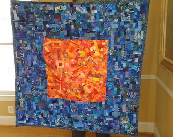 FIRE AND ICE//An Original Art Quilt in Blue Hues and Oranges
