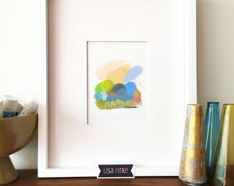 Early autumn abstract landscape art print (tiny size)