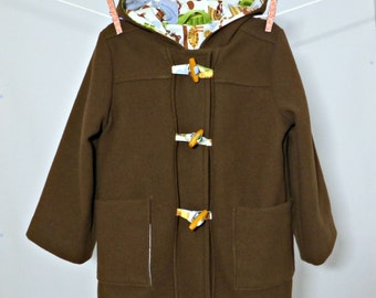 Hooded Duffel Coat, Toggle Jacket, Toddler Boys Winter Coat in Brown Wool, Size 4, Jungle Print Lining