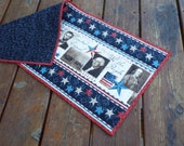 Table Runner, Table topper, quilted table runner, Dresser Scarf, Primitive, Americana, Historical, red, white, blue