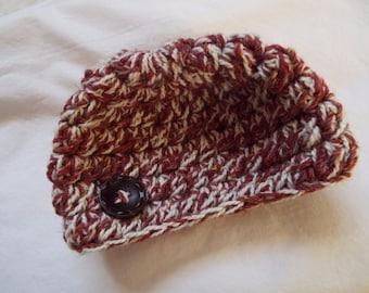 Crochet Newborn Hat, Knit newborn hat, Newborn Beanie, Infant Beanie, Infant Hat, Photo prop, tweed, old fashioned