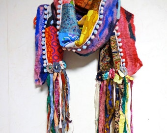 Felted Patchwork Bohemian Gypsy Ethnic Silk Cotton Multi Color Scarf