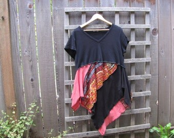 Upcycled Asymmetrical Plus Size Tribal Tunic Top/ Funky Eco Tunic Top/ Lagenlook Hi Lo Womens Babydoll Blouse XL