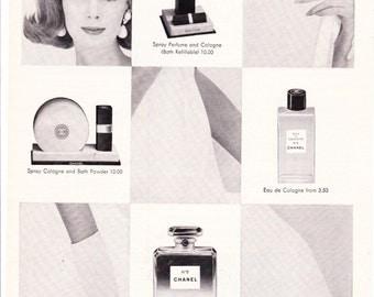 Vintage Original Magazine Print Advertisement - Wall Art - Wall Decor - Man Room - Chanel - 1964 - No. 5 - Perfume - Cologne - Beauty