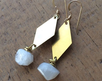 brass diamond and moonstone earrings