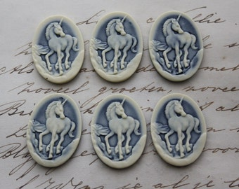 Unicorn Cameo - 6 pieces  - Fantasy Magic Mythological - 25x18mm