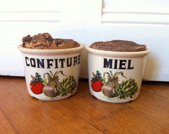 Honey and jam jars. Set of two authentic French earthenware containers