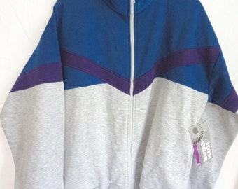 NEVER WORN // Vintage 90s Sweatshirt Men size large Zip up Blue and Grey Still Has Tags