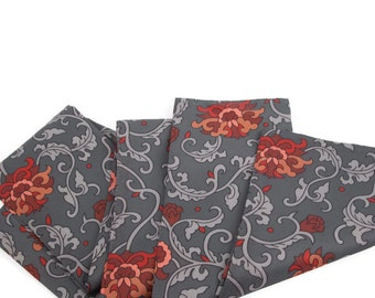 Vintage Gray Scarf Red Floral Design Headwear Fall Neckwear Shawl Wrap Flower Print Pattern