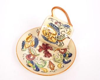 Vintage Japan Bird Demitasse Teacup Saucer Yellow Bird Tea Cup Made in Japan