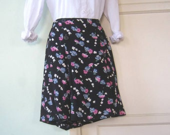 Women's Small-Medium Floral Knee-Length Black Skirt; Nautical Buttons~Pink/Blue Ditsy Flower Print Short Skirt; Free Shipping/U.S.