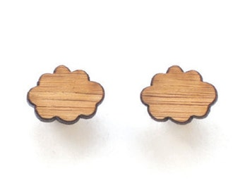 Cloud stud earrings - small studs - eco friendly lasercut wooden jewelry