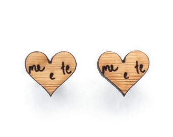 Anniversary gift: Wooden earrings love heart studs. Eco friendly laser cut wooden jewelry - 5th year