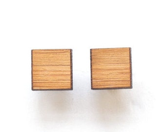 Square studs - square earrings - everyday studs - wooden geo studs - simple studs