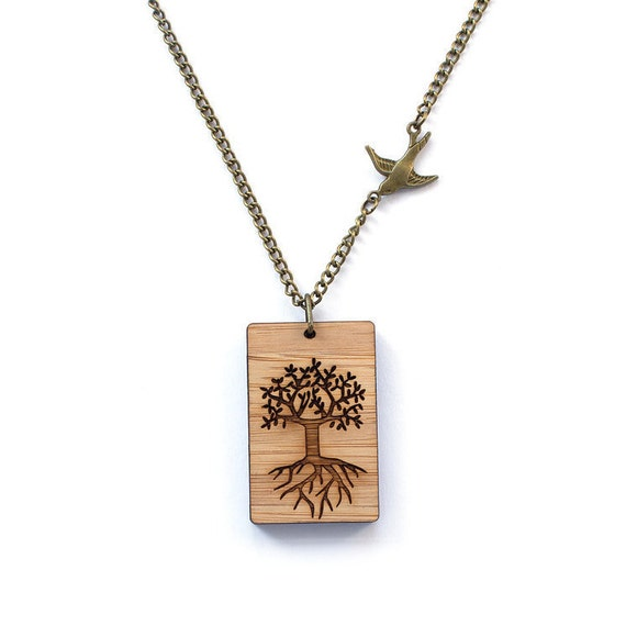 Tree of life necklace - lasercut wooden jewellery - wooden pendant - lasercut jewelry - casual necklace - nordic jewelry