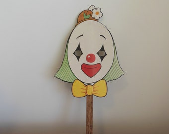 Halloween Clown Mask on a Stick Cardboard Circus Clown Costume or Decoration