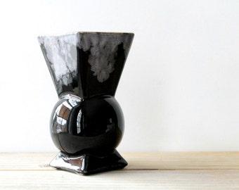 Vintage art deco style black vase / minimalist style home decor / geometric ceramic vase / American pottery / classic style table decor