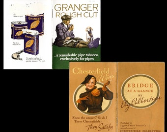 1920s-30s Cigarette Advertising Booklets Chesterfield Cigarettes Granger Tobacco Advertising Bridge Book, Pamphlet, Brochure