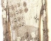 Vintage Ladies Shirt/Skirt Set Various Shades of Silver Grey Tatted Lined Maxi Beaded by Very Vera
