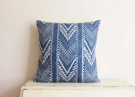 "Block printed chevron pillow cushion cover 20"" x 20"" in indigo"