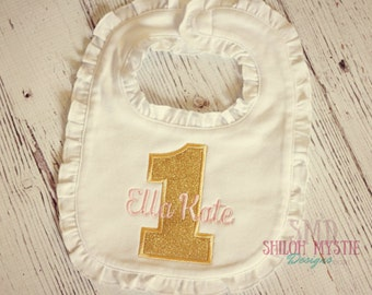 1st birthday Pink and Gold bib-gold and pink bibs