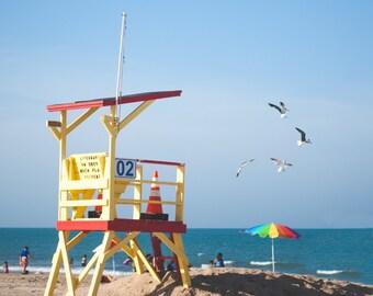 Beach Photography -  beach sand nautical home decor sea blue yellow ocean birds wall art print photos