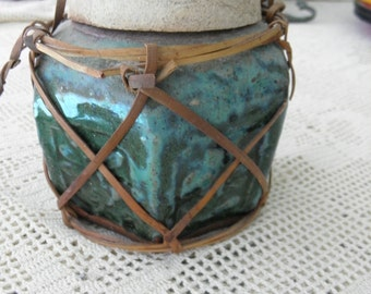Antique Chinese Glazed Green Pottery Bowl, Jam Jar, with Lid, Dark Green Pottery