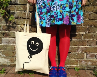 Balloon Tote Bag - Cute Tote Bag - Screen Printed Tote Bag - Fun hello DODO tote - Let's Happy Tote - Balloon Print - Balloon Illustration