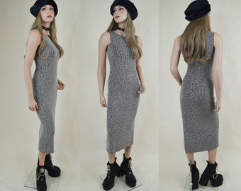 90s Grunge Minimal Grey Beige Geometric Print Sleeveless Bodycon Tank Maxi Dress S
