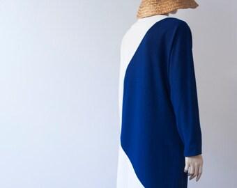 Artist Dress / Minimalist Fall Dress/ Monochrome Vintage Smock / Color Block / Geometric  S / M / L