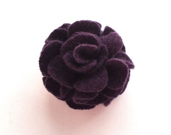 Plum Purple Cashmere Flower Pin/Hair Clip -  Hair Accessory - Repurposed Cashmere - Upcycled Cashmere Brooch - Recycled Cashmere Flower