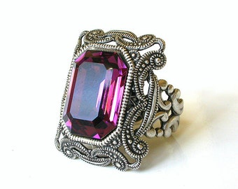 Purple Gothic Ring Swarovski Crystal Ring Cocktail Ring Filigree Ring Large Ring Victorian Gothic Jewelry